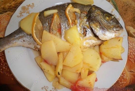 Запеченное Дорадо с картошкой фото