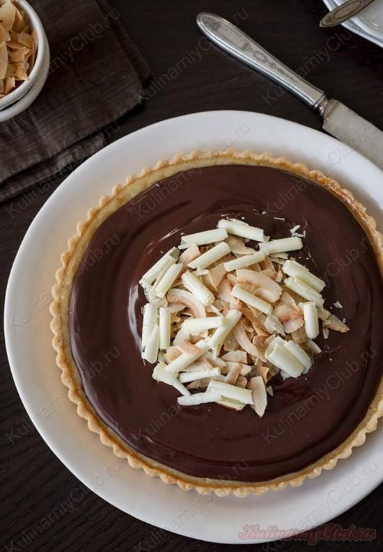 Кокосовый тарт с шоколадным ганашем