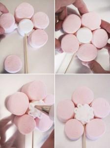как сделать цветок  из маршмеллоу