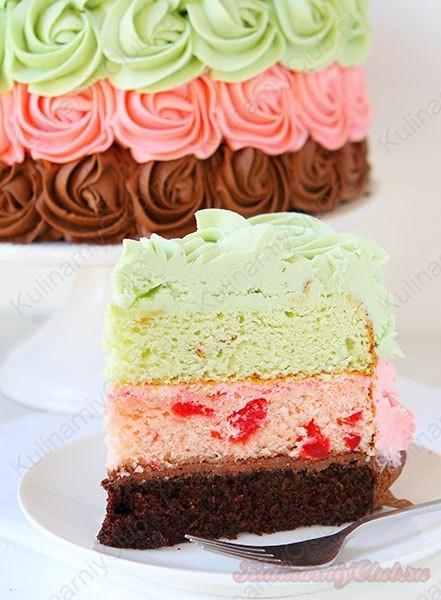 Трёхцветный торт фото