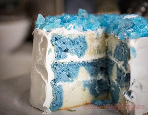 Двухцветный торт «Битое стекло» фото