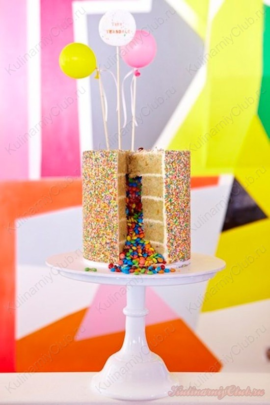 Как сделать торт пиньята, торт с сюрпризом, фото